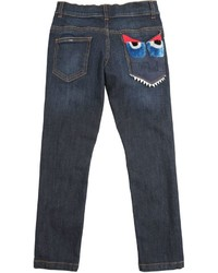 Fendi Monster Embellished Stretch Denim Jeans