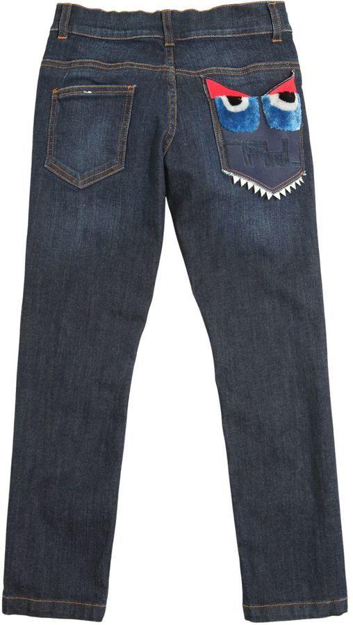 Fendi Monster Embellished Stretch Denim Jeans