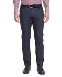 Ermenegildo Zegna Five Pocket Dark Wash Stretch Denim Jeans Navy