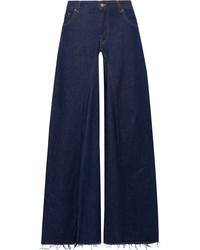 MM6 MAISON MARGIELA Frayed High Rise Wide Leg Jeans Dark Denim
