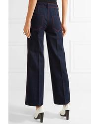 Tod's High Rise Wide Leg Jeans Dark Denim