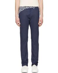 Kenzo Indigo Maze Trimmed Jeans