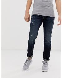 Jack & Jones Intelligence Tim Distressed Slim Fit Jeans In Dark Wash