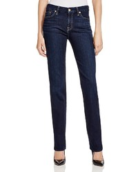 7 For All Mankind Kimmie Straight Leg Jeans In Dark Dusk Indigo