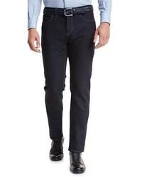 Ermenegildo Zegna Luxe Denim Straight Leg Jeans Navy Solid