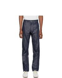 Issey Miyake Men Navy Denim Wrinkle Jeans