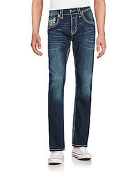 Rock Revival Patch Fleur Straight Leg Jeans