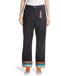 Mira Mikati Ribbon Cuff Wide Leg Jeans