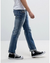 Diesel Safado Straight Fit Jeans 84dd Mid Wash Abrasisions