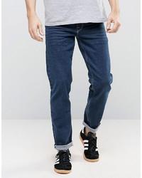 Asos Selvage Stretch Slim Jeans In Dark Blue