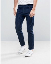 Asos Slim Ankle Grazer Jeans With Raw Hem And Waistband In Raw Blue