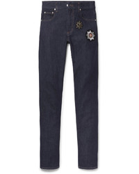 Alexander McQueen Slim Fit Appliqud Stretch Denim Jeans