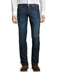 Brunello Cucinelli Slim Fit Dark Wash Denim Jeans Dark Blue