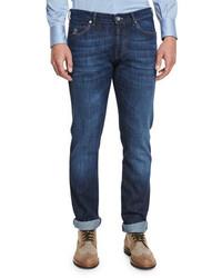 Brunello Cucinelli Slim Fit Denim Jeans Dark Blue