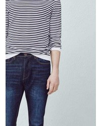 Mango Outlet Straight Fit Dark Bob Jeans