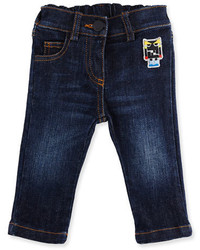 Fendi Stretch Denim Monster Jeans Blue Size 12 24 Months
