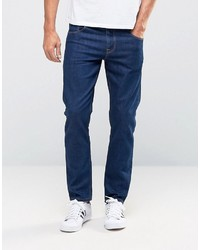 Asos Stretch Slim Ankle Grazer Jeans In 125oz Dark Blue