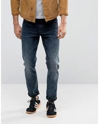 Asos Stretch Slim Jeans In Blue Black Wash