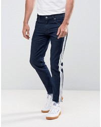 Asos Stretch Slim Jeans In Indigo With Retro Side Stripe And Raw Hem