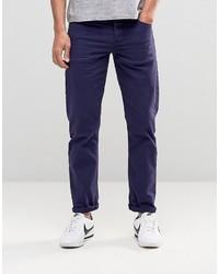 Asos Stretch Slim Jeans In Navy