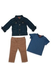 7 For All Mankind Toddler Boys Three Piece Denim Jacket Tee Jeans Set