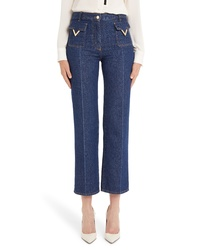 Valentino V Detail Straight Crop Jeans
