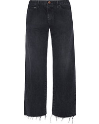 Simon Miller W005 Tilson Cropped Frayed Mid Rise Wide Leg Jeans Midnight Blue