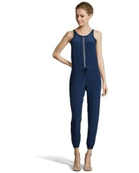 Wyatt Grey Silk Crepe Scoop Back Sleeveless Jumpsuit