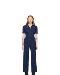 Gucci Navy Short Sleeve Jumpsuit