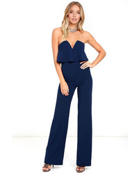 LuLu*s Power Of Love Navy Blue Strapless Jumpsuit