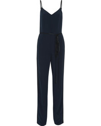 Rag & Bone Rosa Two Tone Silk Crepe Jumpsuit Midnight Blue