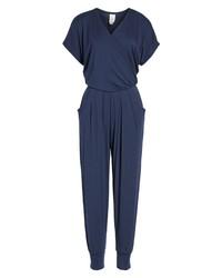 Loveappella Short Sleeve Wrap Top Jumpsuit
