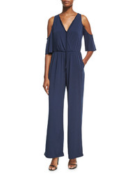 BCBGeneration Solid Cold Shoulder Knit Jumpsuit Navy