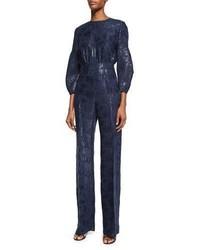 Lela Rose Straight Leg Shimmery Jumpsuit Navy