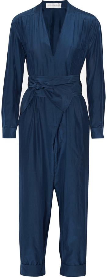 4c85c36da0f Victoria Beckham Victoria Belted Silk And Cotton Blend Jumpsuit ...