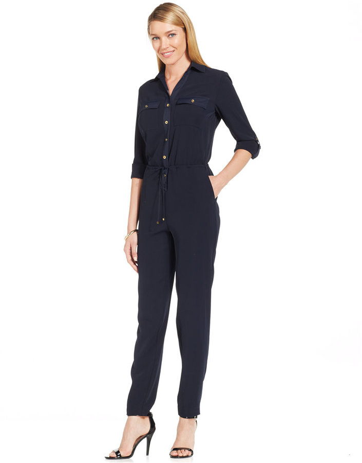 477420d8155 ... Jones New York Y Neck Long Sleeve Jumpsuit