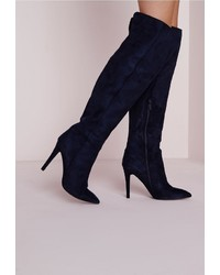 ae1a5f37f8f ... Missguided Knee High Stiletto Heeled Boots Navy