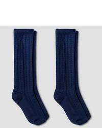 Cat Jack Girls 2 Pack Knee High Socks Navy