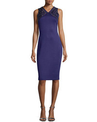 St. John Collection Beaded Milano Knit Sheath Dress Viola