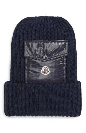 4779cb6ba0f ... Navy Knit Beanies Moncler Berretto Wool Beanie With Pocket