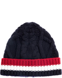 Thom Browne Cable Knit Stripe Panel Beanie