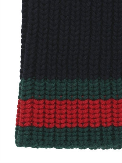 56ac8c12b32 Gucci Web Wool Cable Knit Beanie Hat