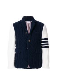 Thom Browne 4 Bar Stripe Aran Cable Cashmere Sport Coat