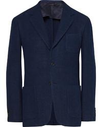 Blue slim fit waffle knit cotton blazer medium 1138549