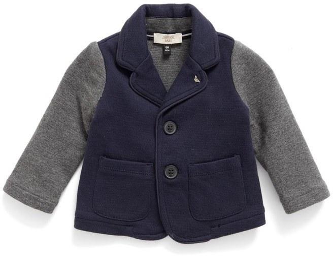 Armani Junior Infant Boys Contrast Sleeve Knit Blazer