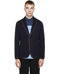 Navy brown knit blazer medium 342140