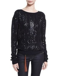 Ralph Lauren Collection Sequined Cable Knit Silk Nylon Sweater