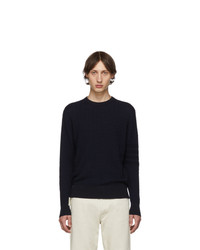 Thom Browne Navy Baby Cable Knit Crewneck Sweater