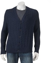 croft & barrow Classic Fit Solid Cable Knit Cardigan
