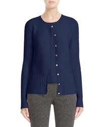 St. John Collection Ottoman Pointelle Knit Cardigan